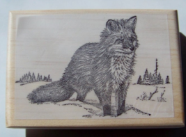 Snow Fox New mounted rubber stamp - $8.75
