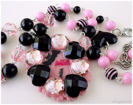 Bat Resin Cameo Pendant, Black and Pink Beaded Chain, Silver Plated - De... - $33.00