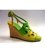 Holey Moley Funky Fresh Green Wedge Sandal Rare... - $69.99