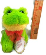 "Easter Big Eyes Green Frog Red Ribbon Plush Stuffed Easter Dan Dee Soft 6"" NEW - $8.90"