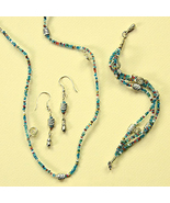 Glass and Silvertone Bead Jewelry Set Handmade ... - $19.99