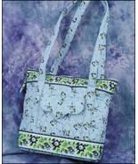Blue Floral Ashley Quilted Tote Organizer bag 12.5x10.5x3.75 cross stitch - $20.00