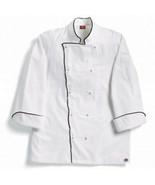 Dickies Grand Master White Chef Coat w/ Black Piping, White, Medium - $14.84