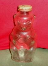 "Vintage 1950s SNOW CREST 7"" GLASS BEAR COIN BANK Bottle With Lid Salem Mass - $24.50"
