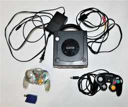 Nintendo Gamecube Black DOL-001 Cables DOL-003 and Intec Wireless Controller - $56.09