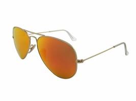 Ray Ban Sun Aviator RB3025 112/4D Matte Gold Frame w/Orange Mirrored Pol... - $139.95