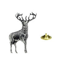 Standing Stag Full Antlers tie pin, Lapel Pin Badge, in gift box deer, reindeer