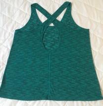 Express Women Top Tank Blouse Size Large Green Criss Cross Back Work Out... - $26.82