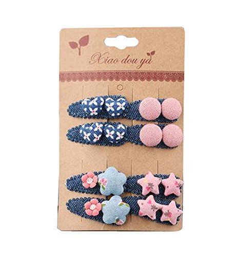 8 pieces Baby Girls Edge Bangs Hair Clips Barrettes Hair Pins, NO.15