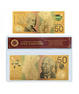 WR New Australian $50 Dollar Colored Gold Foil Banknote Paper Money In S... - $3.99