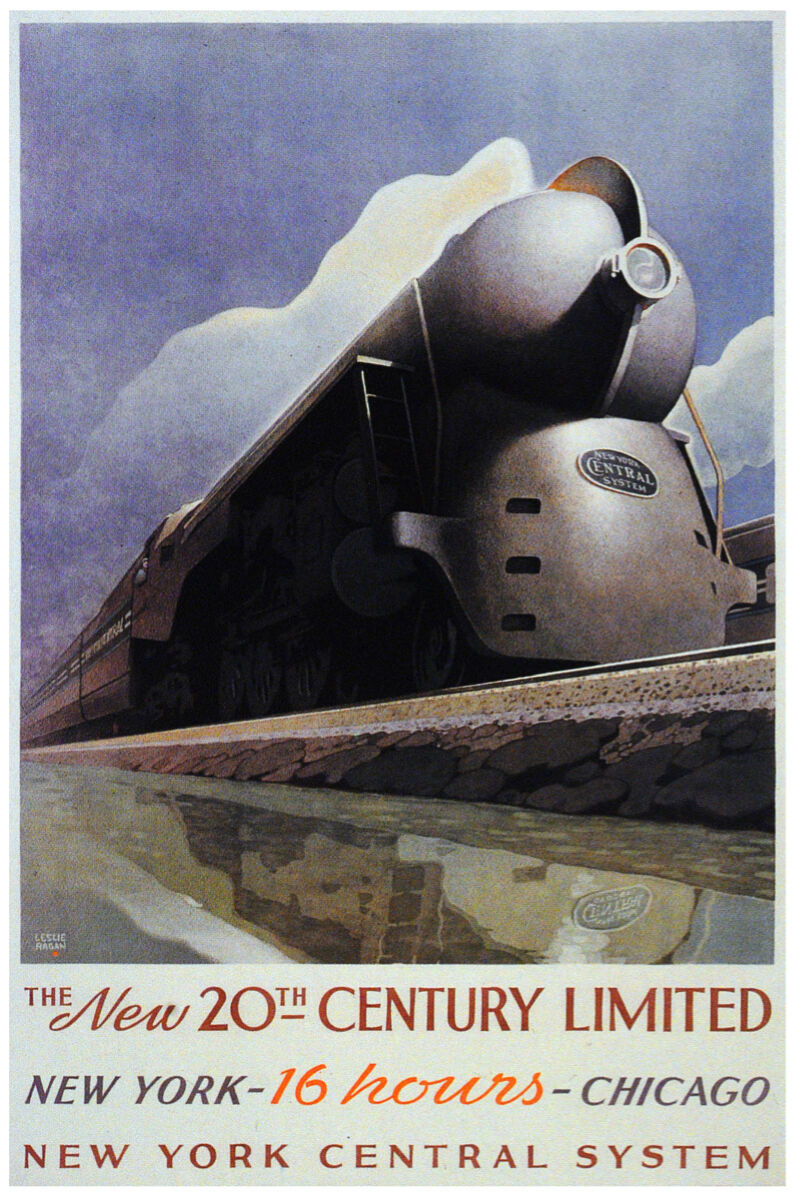 Primary image for Train Vintage Poster.New York Chicago.Room Decor.House Interior design.906i