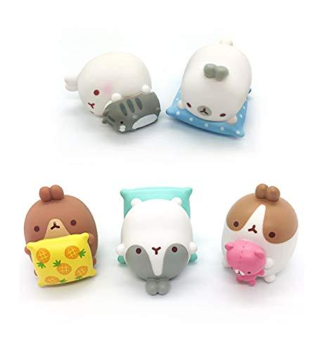Molang Figures Volume 5 Lazy Sunday Set Miniature Figures Figurines Toy Set (5 C