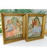 Vintage Sandre Lithograph Prints Victorian Couples Wood Frames - $19.95