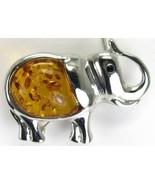 Honey Amber Elephant with faceted Black Onyx Ey... - $49.00