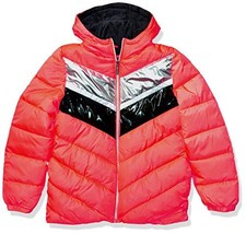 Limited Too Girls' Big Striped FOIL Colorblock Puffer, Coral, 7/8 - $31.19