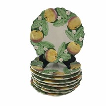 8 Majolica Belo Faiancas Portugal Williams Sonoma Salad Plates Peaches A... - $74.76