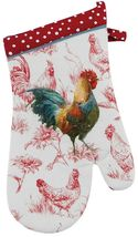Farm Nostalgia Rooster and Chickens Red and White Kitchen Oven Mitt - $25.96