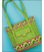 Lime Green Ashley Quilted Tote Organizer bag 12.5x10.5x3.75 cross stitch - $20.00