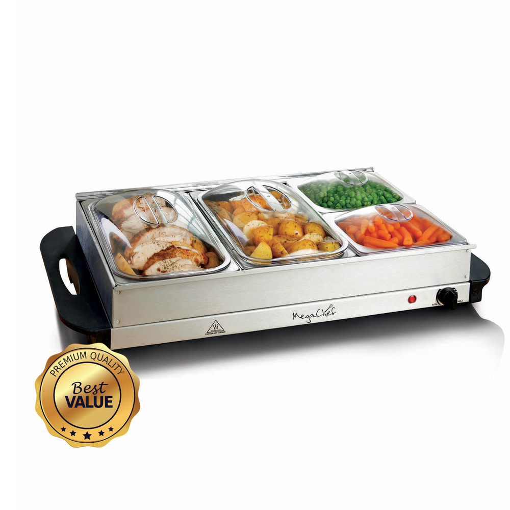 MegaChef Buffet Server & Food Warmer With 4 Removable Sectional Trays , Heat