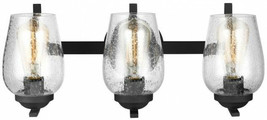 Bathroom Vanity Lighting 20.38 in. W 3-Light Dimmable Clear Shade Black ... - $100.20