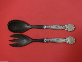 "Ornamental #102 by Georg Jensen Sterling Salad Serving Set 2pc with Wood 9"" - $654.55"