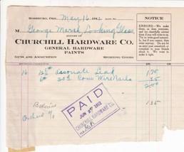 U.S. Churchill Hardware Co. Ore. 1912 Lead & Nails Paid Cancel Invoice R... - $7.55