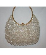 Hand Made Hong Kong Cream Clear Beaded Sequin Evening Bag      #1183 - $69.00