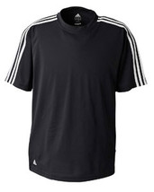 NWOT  Black White L  Adidas A72 Golf Men's ClimaLite® 3-Stripes  - $20.50