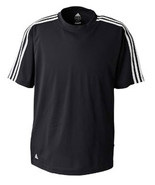 NWOT  Black White L  Adidas A72 Golf Men's ClimaLite® 3-Stripes  - $20.50