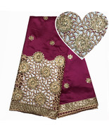 Silk Sequin Fabric Nigerian Style African George Lace Fabric Women Weddi... - $69.99
