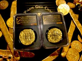 PERU 1708 8 ESCUDOS NGC GOLD PLT 1715 SHIPWRECK PIRATE GOLD COINS  TREASRUE - $299.00