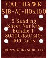 CAL-HAWK S1B-AJ-110x100 - 80/100/150/240/400 Grit - 5 Sandpaper Variety ... - $7.53