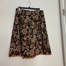 Talbots Womens Sz 12 Lined Print Skit Black Orange Brown Green Full Side Zip - $12.19
