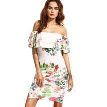 White Flower Print Ruffles Women Pencil Dress - $29.94