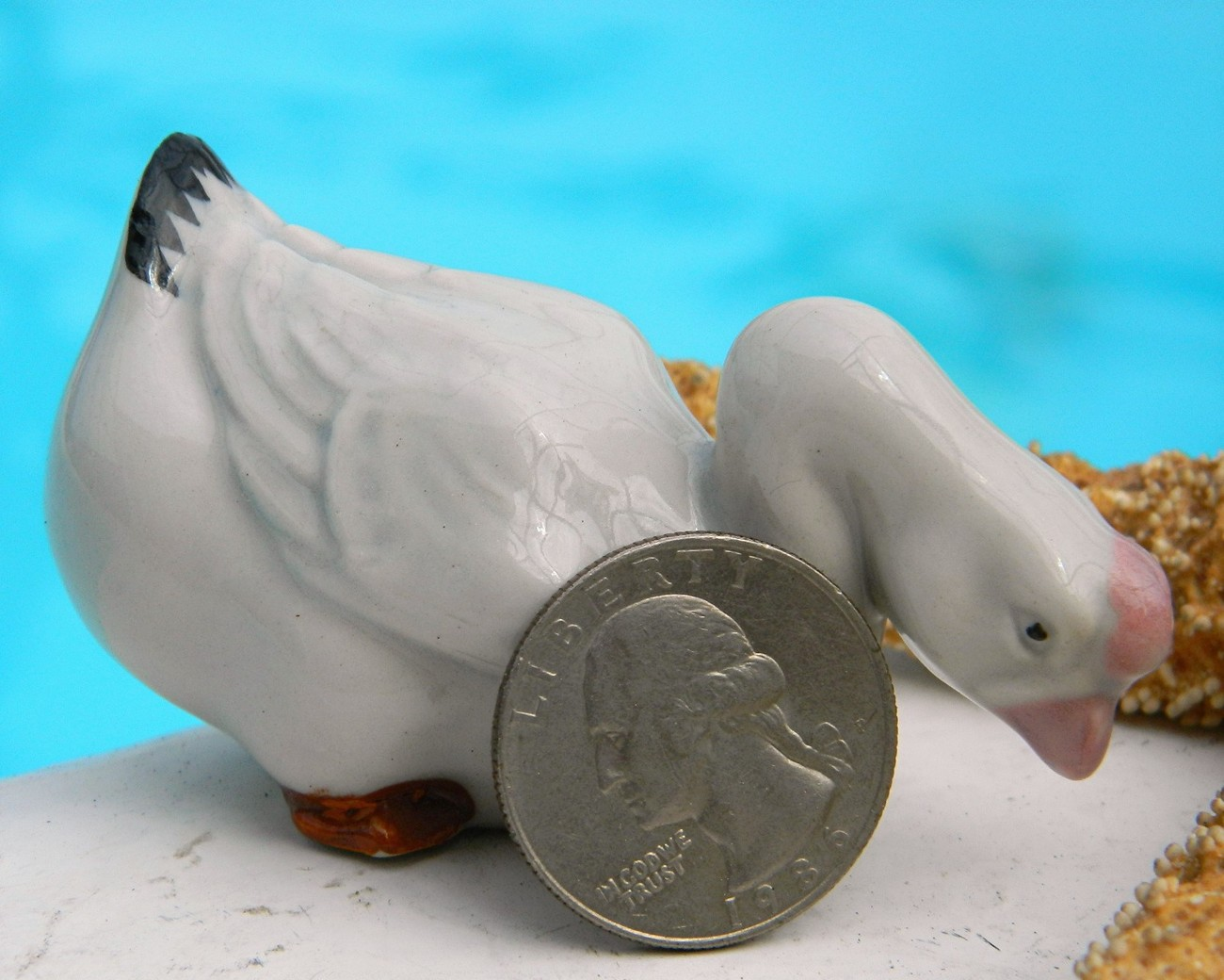 Vintage White Chinese Goose Porcelain Figurine Made In China