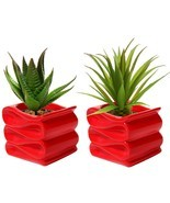 Small Ceramic Plant Pot Flower Planter Red Set of 2 Modern Decorative New - £15.30 GBP