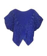 70s-80s Azure Blue Butterfly Rainbow Beaded 100% Silk Butterfly Batwing ... - $48.00