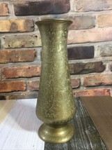 "Brass Tabletop Flower Vase Indian Floral Pattern Diameter: 3"" Height: 9"" - $19.79"