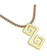 Double Meander-Greek Key - 24K/ Gold Plated Sterling Silver Necklace - $40.00