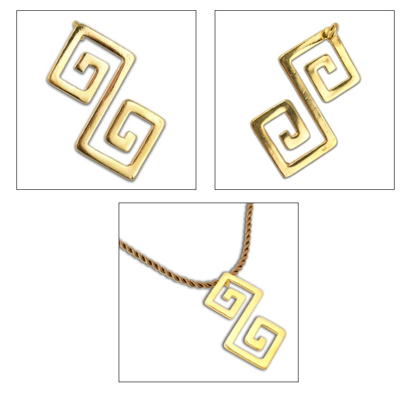 Double Meander-Greek Key - 24K/ Gold Plated Sterling Silver Necklace