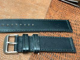 24mm Italian genuine leather watch band   Black Premium calf fit Panerai image 3