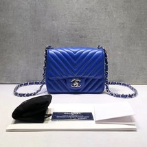 NEW AUTHENTIC CHANEL BLUE CHEVRON QUILTED CAVIAR SQUARE MINI CLASSIC FLAP BAG  image 2