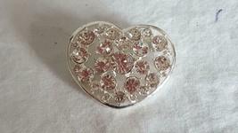 "1.75"" SIGNED LIZ CLAIBORNE HEART RHINESTONE BROOCH PIN, FAUX DIAMONDS, S... - $4.94"