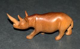 Hand Carved Wood Figurine Rhino African Primitive Art image 2