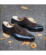 Men Handmade Wing Tip Leather & Suede Shoes, Men Navy & Brown Formal Shoes - $179.97+
