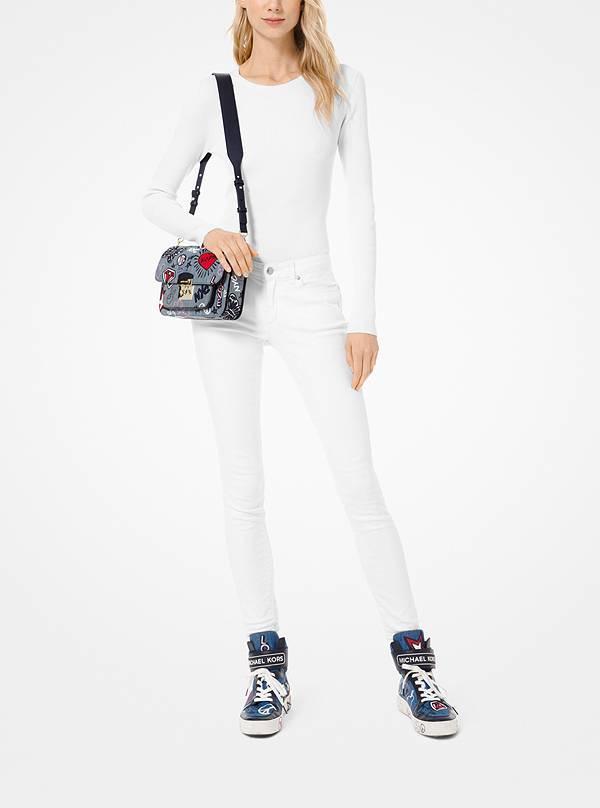 Michael Kors Sloan Editor Embroidered Washed Denim Cotton Shoulder Bag