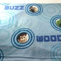 Vtg Toy Story Twin Bed Flat Sheet Blue Disney Pixar Woody Buzz Lightyear... - $39.05