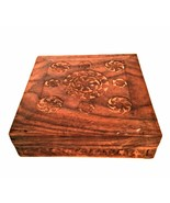 Wood Trinket Jewelry Box Vintage Hand Carved Felt Lined Hinged Top Made ... - $28.71