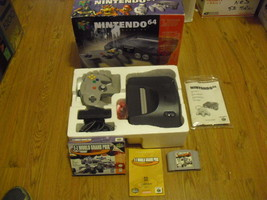 Nintendo 64 Charcoal Grey Console(NTSC) Expansion & complete F1 World Gr... - $148.49