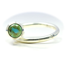 Real Round Turquoise Ring Statement 925 Silver Adjust US 4,5,6,7,8,9,10,... - $29.11